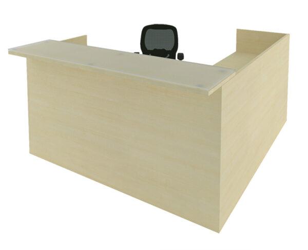 CHERRYMAN AMBER 6′ x 6′ Reception L-Desk with Glass Transaction Counter