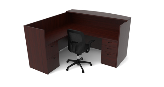 OTG Laminate L-Shape Reception Desk with 2 Storage Pedestals