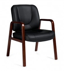 OTG 11770B Luxhide Guest Chair with Wood Accents