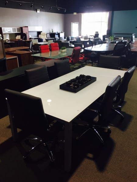 Sling Series Rectangular Glass 8ft Conference Table From