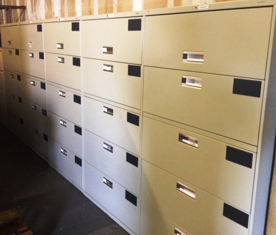 USED 36″ wide 5 Drawer Lateral Files in Beige