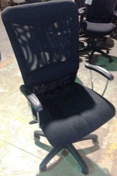 USED High-Back Mesh Executive Chair with Lumbar Support in Black
